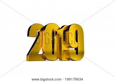 3d illustration happy new year 2019