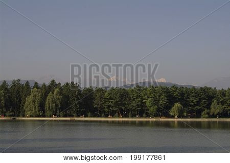 Lake at sunrise in the city of Nalchik foothills of the Caucasus.