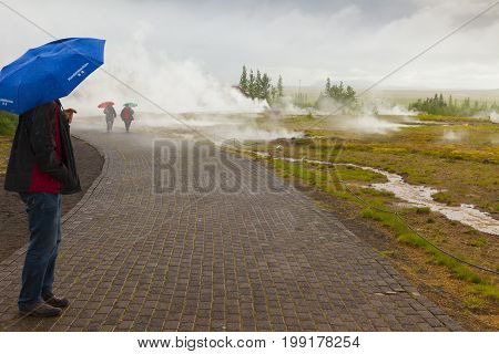 August 2014: Iceland Geysir A golden circle stop in Iceland the spectacular geyser that erupts every 30 minutes is located in Geysir