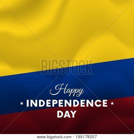 Banner or poster of Ecuador independence day celebration. Waving flag. Vector illustration.