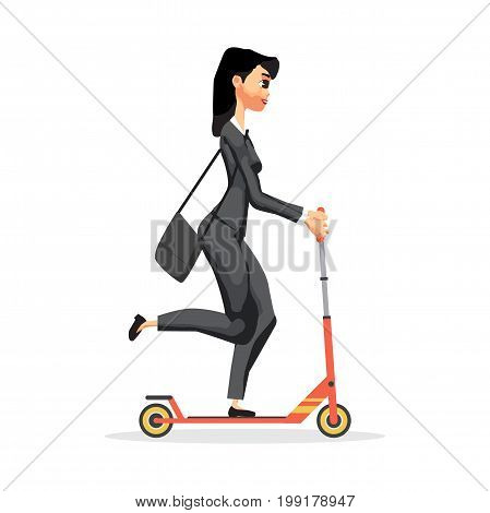 Business woman on a red kick scooter. Vector flat design illustration isolated on white background