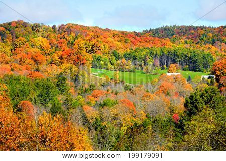 Autumn landscape in Vermont country side