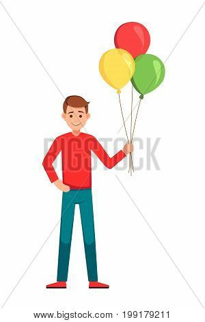 Boy WIth Balloons. Happy birthday boy.Boy holding colorful balloons.vector illustration isolated over a white background.Smiling young boy with bunch of colorful balloons in his hand