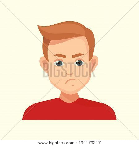 unhappy boy.vector character dissatisfied, avatar male with negative facial expressions , vector illustration isolated from background