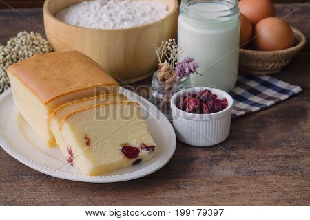 Slices Of Butter Cake On White Plate. Homemade Butter Cake With Dried Cranberries So Delicious Soft