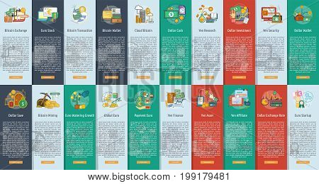 Currencies Vertical Banner Concept | Set of great vertical banner flat design illustration concepts for currency, business, finance and much more.