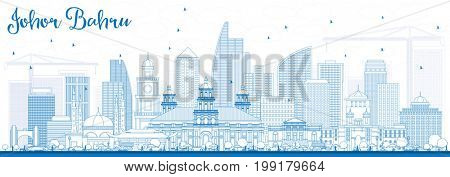 Outline Johor Bahru Malaysia Skyline with Blue Buildings. Business Travel and Tourism Concept with Modern Architecture. Image for Presentation Banner Placard and Web Site.