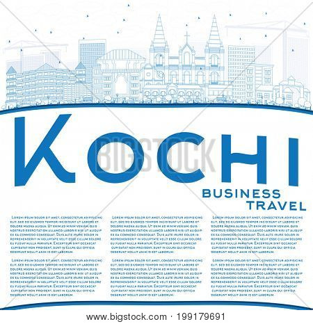 Outline Kochi Skyline with Blue Buildings and Copy Space. Business Travel and Tourism Concept with Historic Architecture. Image for Presentation Banner Placard and Web Site.