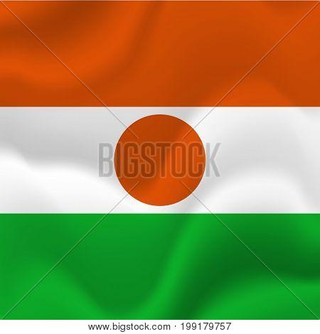 Niger waving flag. Waving flag. Vector illustration.