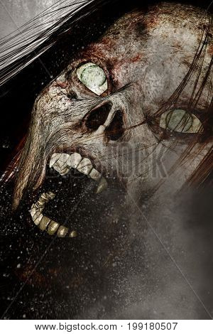 3d illustration of close up scary ghost woman,Horror background mixed media