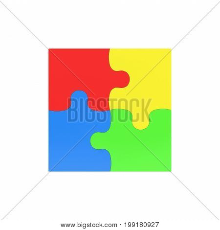 3d rendering of four multicolored puzzle pieces interconnected on white background. Fitting in. Unity. Jigsaw.