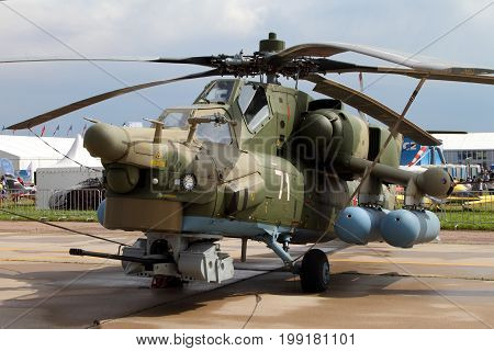 Moscow Region - July 21 2017: Military Helicopter Mi-28N at the International Aviation and Space Salon (MAKS) in Zhukovsky.