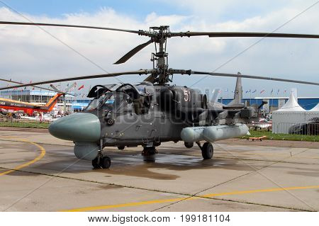 Moscow Region - July 21 2017: Military Helicopter Ka-52 Alligator at the International Aviation and Space Salon (MAKS) in Zhukovsky.