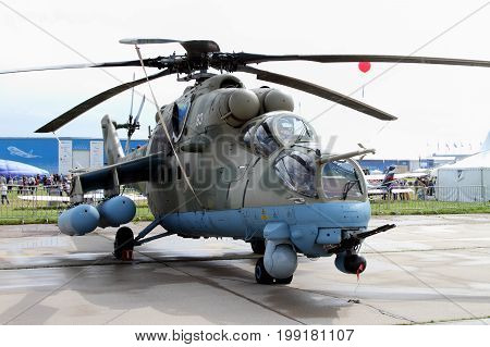 Moscow Region - July 21 2017: Military Helicopter Mi-35 at the International Aviation and Space Salon (MAKS) in Zhukovsky.