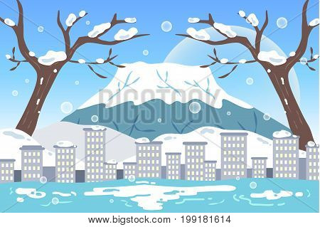 cute cartoon fujisan for your travel concept