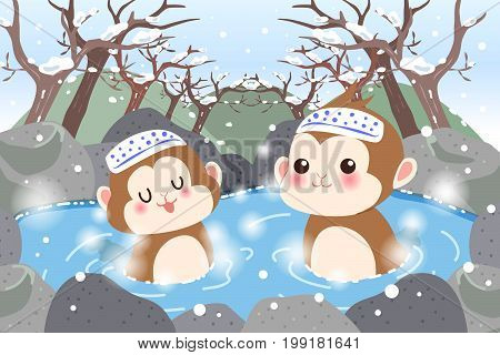 monkey feel free in the hot spring