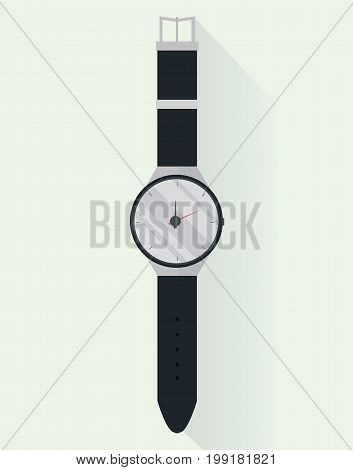 Classic smart hand/wrist watch with long shadow in flat style. Isolated watch icon. Vector illustration.