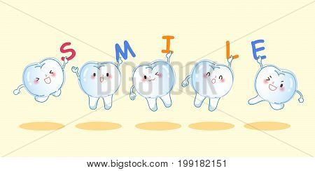 cute cartoon teeth wear invisible braces and take smile word