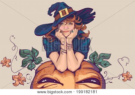 Young woman dressed up in witch costume. Holiday Halloween Cosplay. Vector cartoon illustration