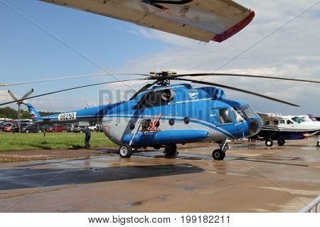 Moscow Region - July 21 2017: Multi-purpose Helicopter Mi-8 at the International Aviation and Space Salon (MAKS) in Zhukovsky.