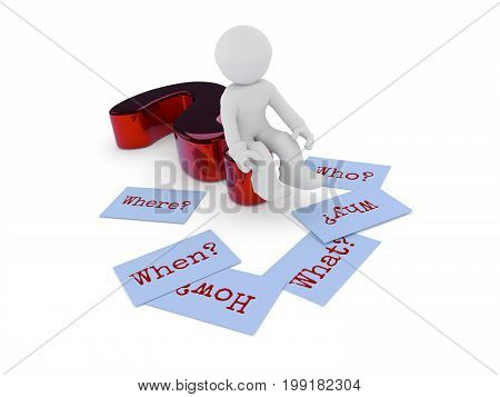 Small character sitting on a glossy red question mark six sticky notes on the ground with the words Why When How Where What and Who on a white background 3d rendering