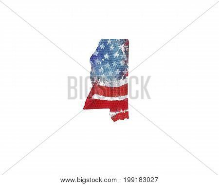 United States Of America. Watercolor texture of American flag. Mississippi.