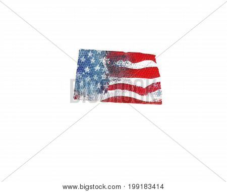 United States Of America. Watercolor texture of American flag. North Dakota.