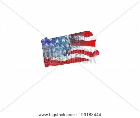 United States Of America. Watercolor texture of American flag. Pennsylvania.