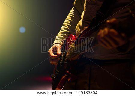 Guitarist Plays. Man A Guitar Playing