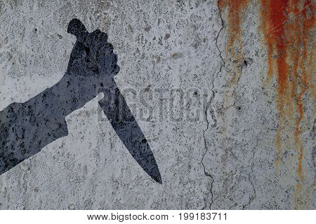Silhouette hand with killing kitchen knife on bloody wall background. Illustration for criminal chronicles.