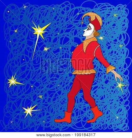 Illustration of a theatrical image of a harlequin against a starry sky