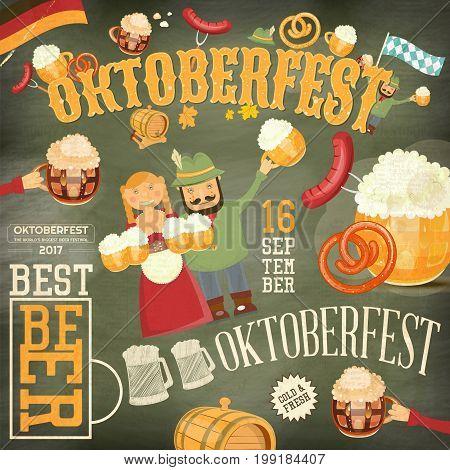 Oktoberfest Beer Festival Vintage Poster - Beer Mugs with Foam Sausage Pretzel on Grunge Background. Vector Illustration.
