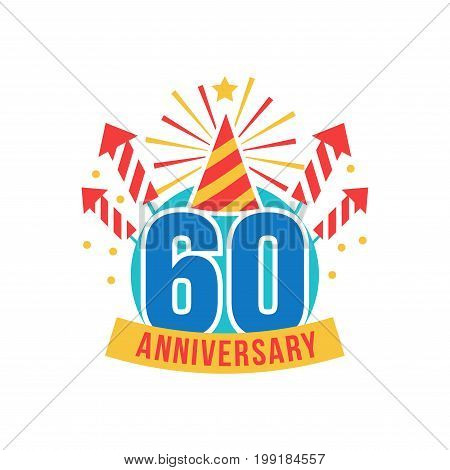 Anniversary sixty years number. 60th years festive Logo and greeting for invitation decor. Flat style vector congratulations isolated on white background. Birthday badge with gift