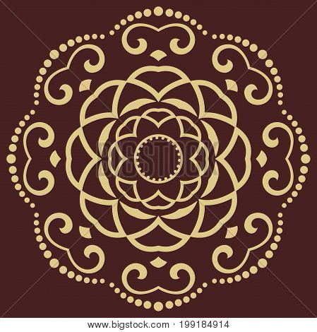 Oriental round golden pattern with arabesques and floral elements. Traditional classic ornament. Vintage pattern with arabesques