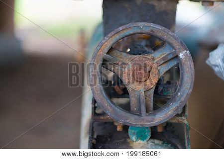 Part Of The Old Rusty Gearbox And Drive Shaft With Grunge Oil Dirty.