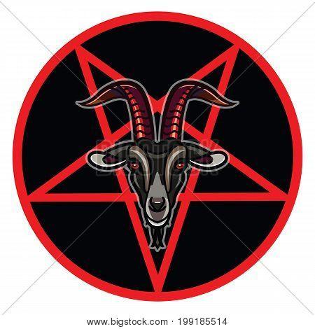 Pentagram with demon Baphomet. Satanic goat head - satanic symbol. Vector illustration tattoo design and music print symbol for biker black metal themes.