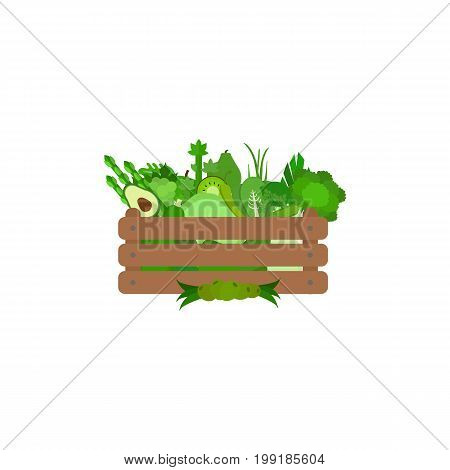 Green fruits and vegetables in a wooden box. The concept of delivering ecological products from the farm Vector