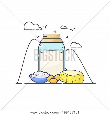 Vector illustration of dairy produce. Color line art
