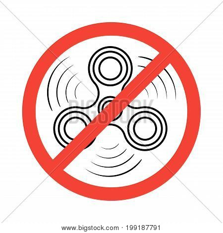 Isometric Hand Spinner isolated on white background. Banned or Not Allowed to Use a Fidget Spinner concept. Fidget spinner icon - toy for stress relief and improvement of attention span.