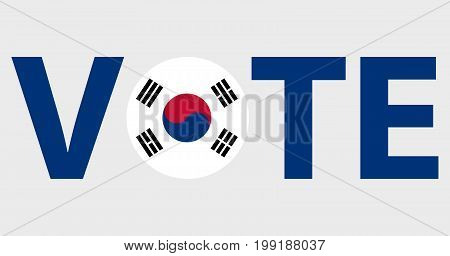 Voting Symbols vector design. template Elections icons. check marks. Patriotic voting poster. Presidential election in South Korea. Typographic banner with round flag of the South Korea.