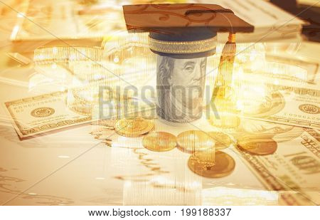 Concept of international graduate study graduation black cap on pile of foreign money US dollars Asian Thai coins Education certificate of Abroad program. Library Background