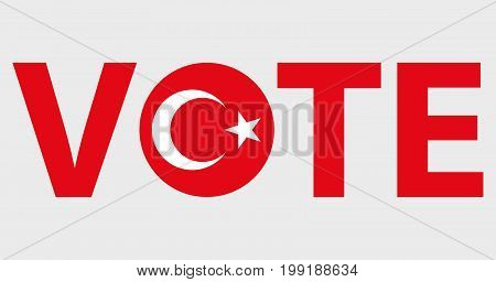 Voting Symbols vector design. template Elections icons. check marks. Patriotic voting poster. Presidential election in Turkey. Typographic banner with round flag of the Turkey.