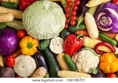 Vegetables background. Healthy eating diet vegetarian food concept. Assortment of vegetables top view