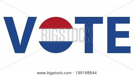 Voting Symbols vector design. template Elections icons. check marks. Patriotic voting poster. Presidential election in Netherlands. Typographic banner with round flag of the Netherlands.