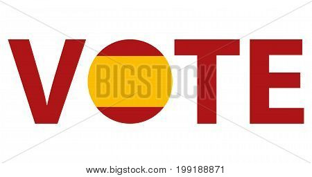 Voting Symbols vector design. template Elections icons. check marks. Patriotic voting poster. Presidential election in Spain. Typographic banner with round flag of the Spain.