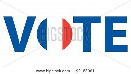 Voting Symbols vector design. template Elections icons. check marks. Patriotic voting poster. Presidential election in France. Typographic banner with round flag of the France.