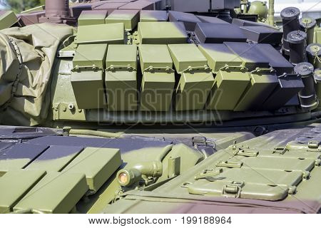 Battle Tank Layered With Reactive Armour Bricks