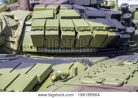 Battle Tank Layered With Reactive Armour Bricks