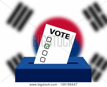 Voting Concept Urns for voting with the national flag of South Korea in the background. Box for votes and checking blank. South Korea Editable voting box and flag. Elections in South Korea ballot box.