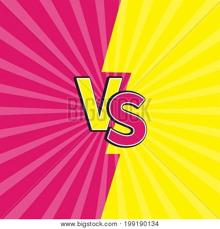 Versus letters or VS battle fight competition. Cute cartoon style. Pink yellow background template. Sunburst with ray of light. Starburst effect. Flat design. Vector illustration